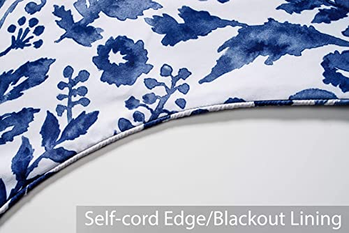 DriftAway Julia Scalloped Edge with Selfcord Lined Thermal Insulated Energy Saving Rod Pocket Window Curtain Single Swag Valance 52 Inch by 16 Inch Plus 2 Inch Header Navy
