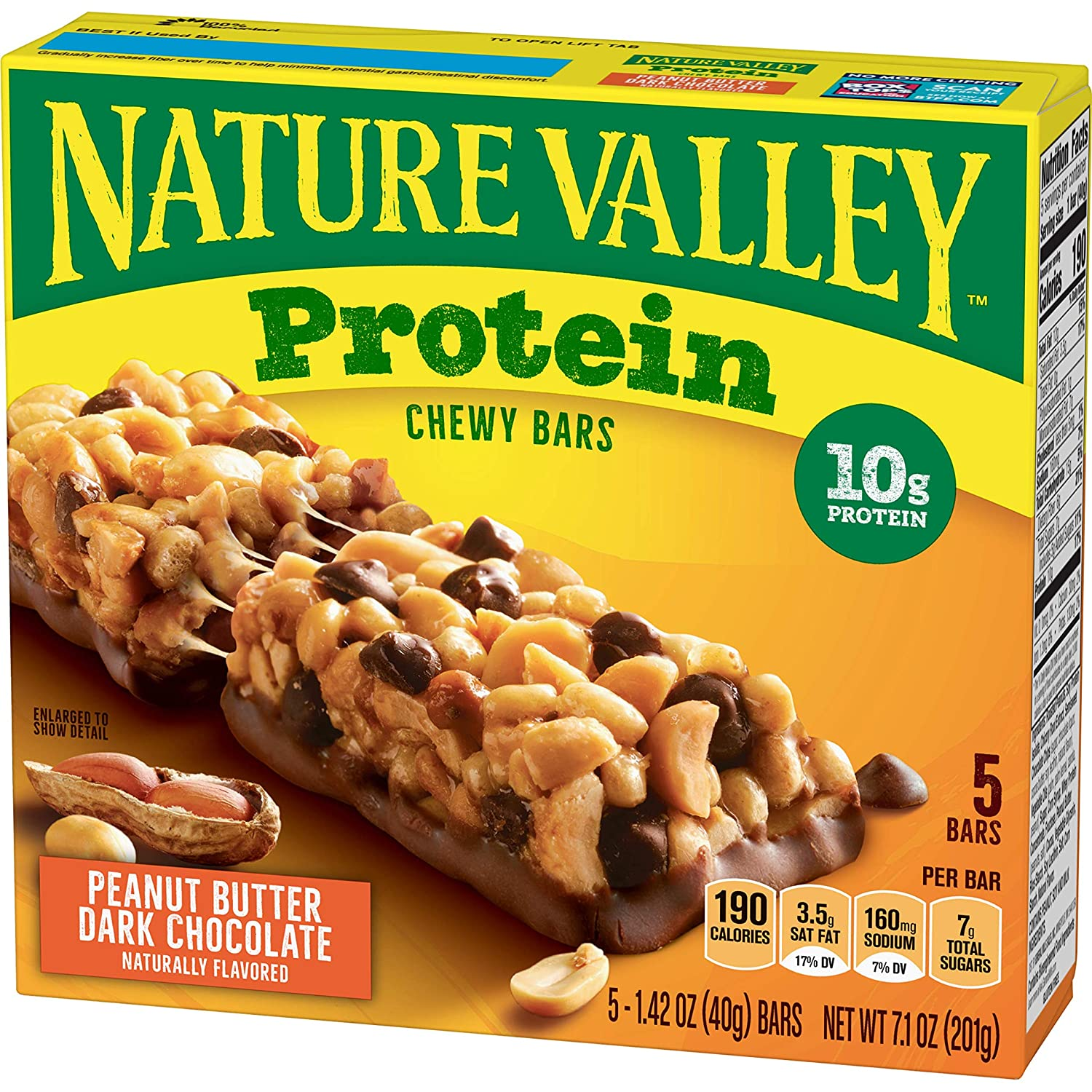 Nature Valley, Protein Chewy Bars, Peanut Butter Dark Chocolate, 5 Ct