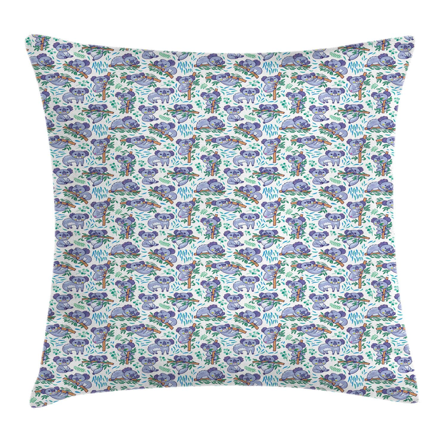 Lunarable Nursery Throw Pillow Cushion Cover, Cartoon Pattern of Baby Koala Cuddling The Eucalyptus Trees, Decorative Square Accent Pillow Case, 28'' X 28'', Jade Green Lavender Blue by Lunarable