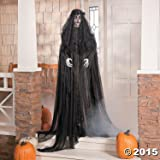 "Lifesize Standing Widow Ghost Woman in Black with Flashing Red Eyes Spooky Scary Halloween Prop Decor 67""tall"
