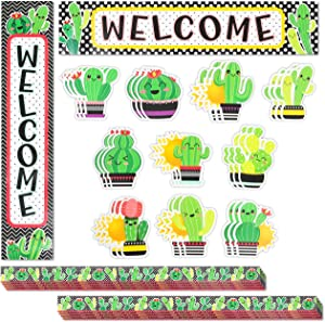 Cactus Classroom Decor and Bulletin Board with Banner, Cutouts, Borders (40 Pieces)