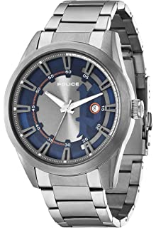 c7df68d00acb Police Men s PL.94387AEU 03M Quartz Watch with Blue Dial Analogue Display  and Stainless