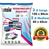 Vacuum Compressed Space Saver Storage Bags Set of 6 - 3 Large (100x80cm), 3 Medium (80x60cm). Extra Strong Double-Zip Seal and Triple Seal Turbo Valve for Ultra Compression | Ideal for Clothes, Duvets, Bedding, Pillows, Curtains and Travelling. 365 DAY 100% MONEY BACK GUARANTEE (Pump NOT Included)
