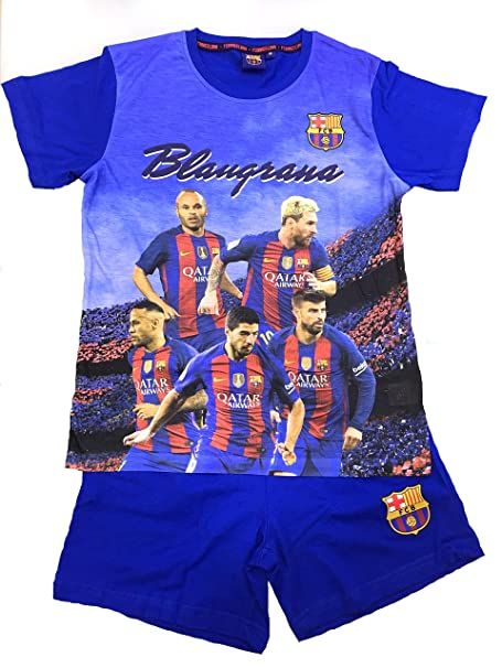 FCB Pijama Niño FC Barcelona Oficial Jugadores 2017 (Talla 10)