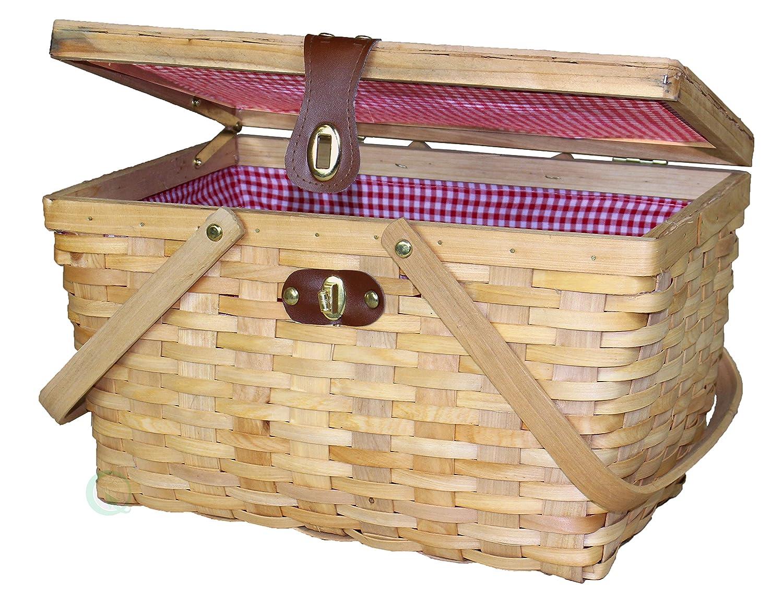 Vintiquewise Panier à pique-nique vichy doublé en bois, Lite, marron, Taille L