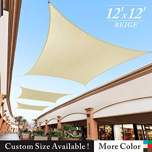Royal Shade 12 x 12 Beige Square Sun Shade Sail Canopy Outdoor Patio Fabric Shelter Cloth Screen Awning