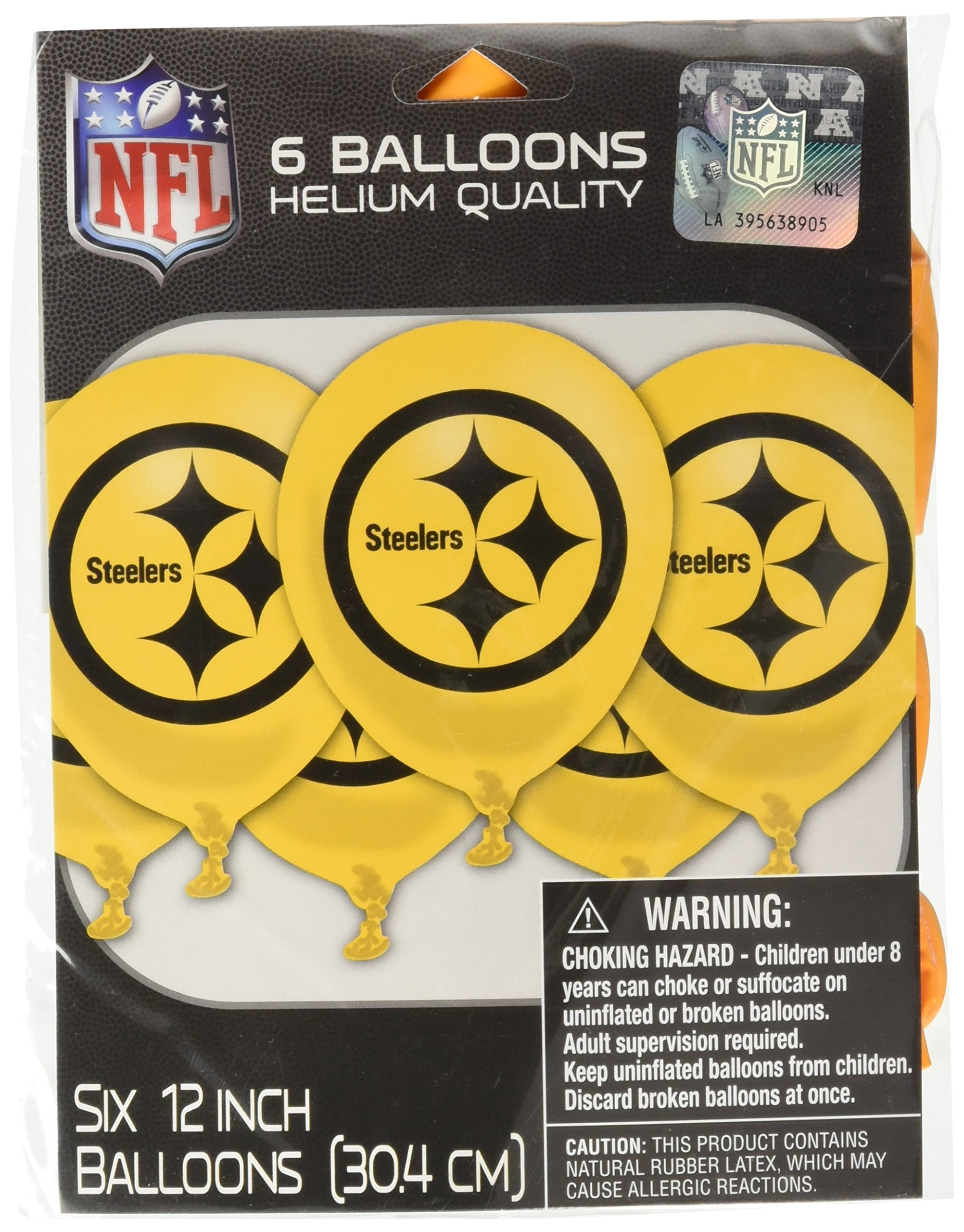 Amscan ''Pittsburgh Steelers Collection'' Printed Latex Balloons, Party Decoration, 72 Ct.