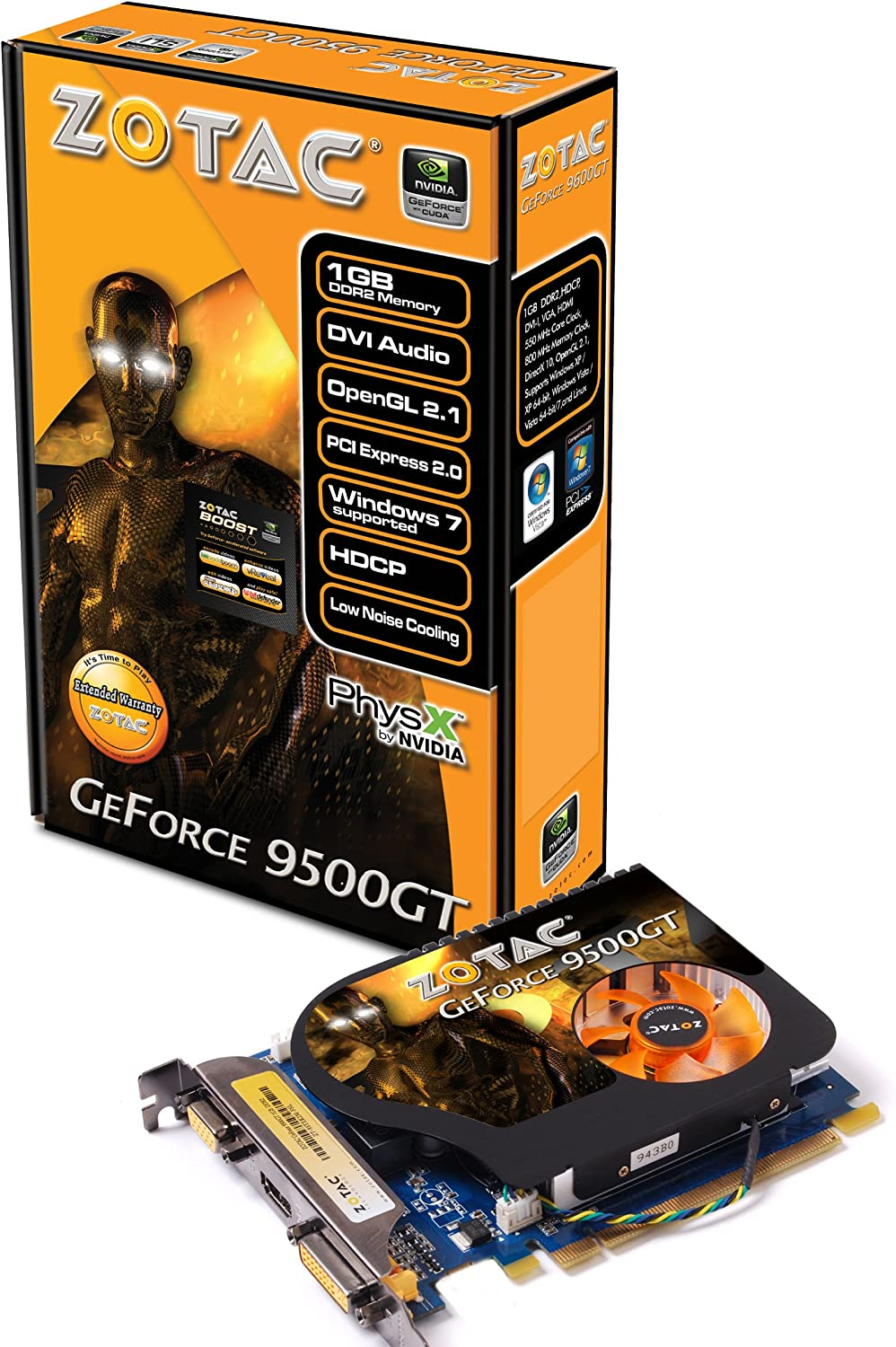 Amazon Com Zotac Geforce 9500gt 1gb Pci Express Ddr2 Vga Dvi Hdmi Graphics Card Zt 95tek2m Fsl Electronics