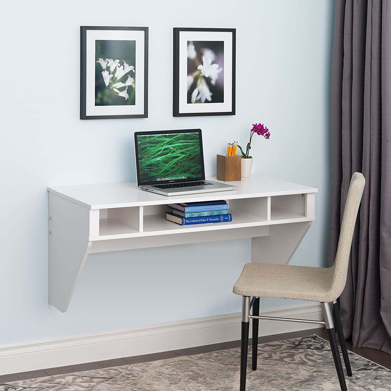 wall mounted office desk. Amazon.com: Prepac Wall Mounted Designer Floating Desk In White: Kitchen \u0026  Dining Wall Mounted Office Desk A