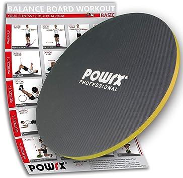 POWRX Balance Board inkl Workout I Wackelbrett /Ø 40cm mit Griffen I Therapiekreisel f/ür propriozeptives Training und Physiotherapie