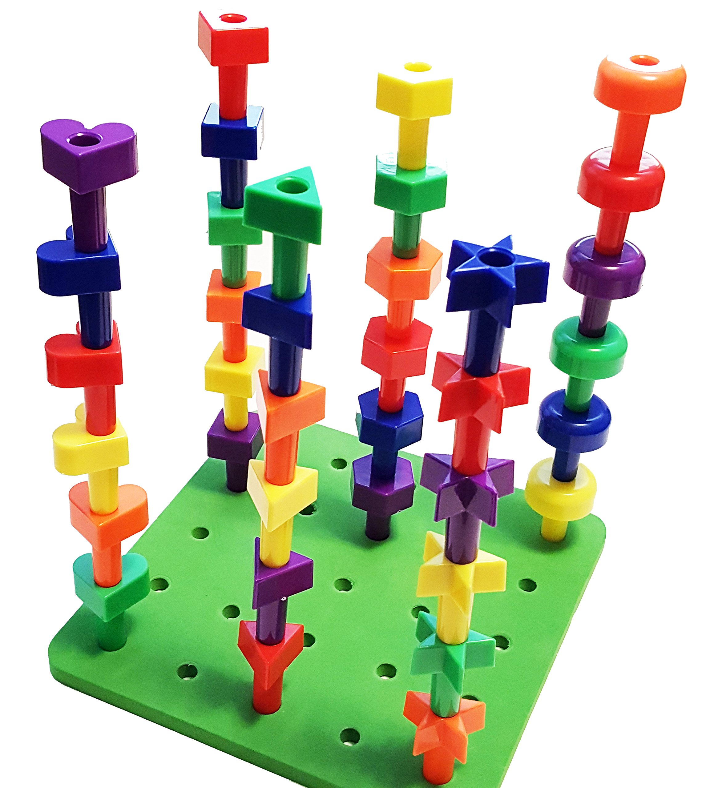 Lacing Shapes and Colors Pegboard Building Puzzle Set with Pattern ...