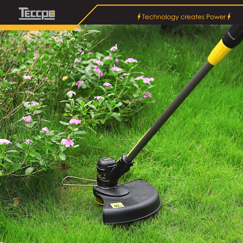TECCPO Cortabordes, 18V 2.0Ah Cortacésped sin Cable (2X Bobina) Ancho de Corte 30cm, Cabezal de Corte Giratorio a 90 °, Dos Mango y Mango Telescópico, ...