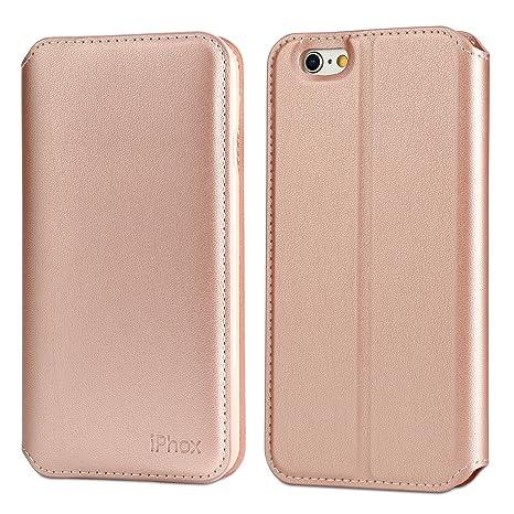 IPHOX Funda iPhone 6 / 6S [Soporte Plegable] [Ranuras para Tarjetas] [Cierre Magnético] [Ultra-Delgado] TPU Parachoques Protección De Cuerpo Completo ...