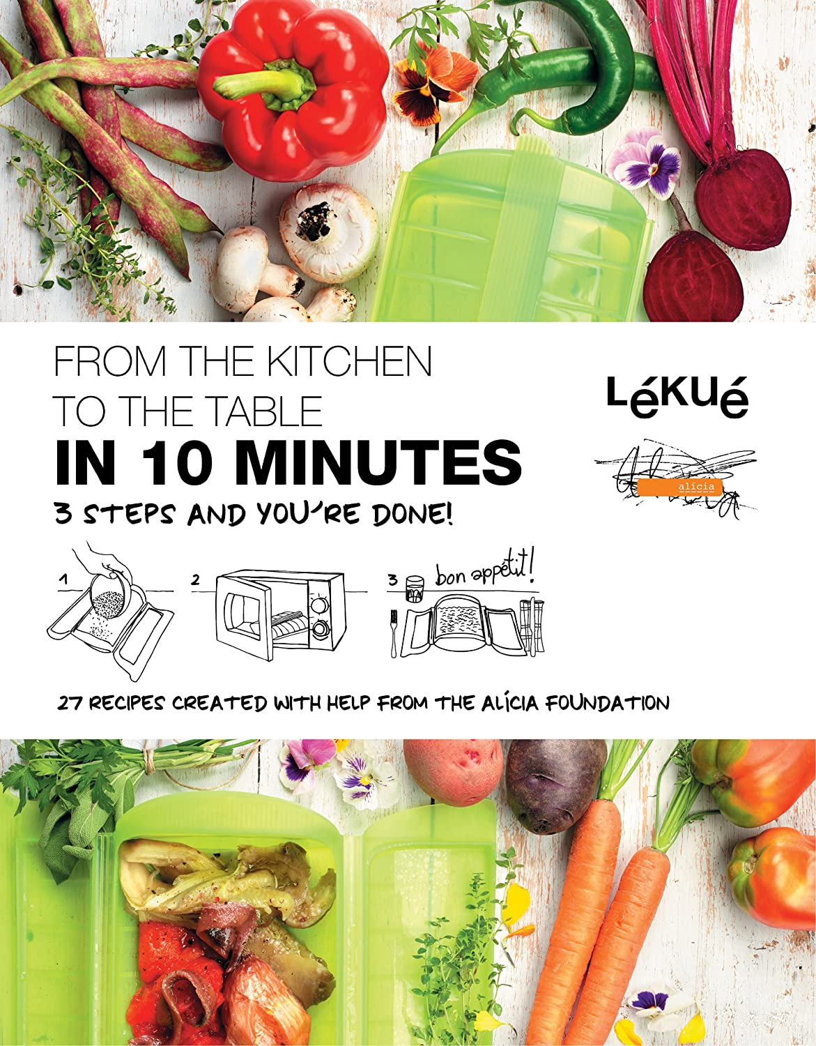 Lekue 3-4 Person Steam Case With Draining Tray and Bonus 10 Minute Cookbook Clear