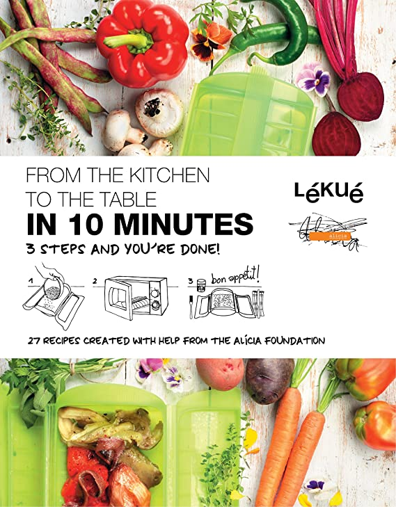 Lekue 1-2 Person Steam Case With Draining Tray and Bonus 10 Minute Cookbook, Red