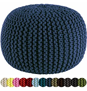 Cotton Craft - Hand Knitted Cable Style Dori Pouf - Blue - Floor Ottoman - 100% Cotton Braid Cord - Handmade & Hand Stitched - Truly one of a Kind Seating - 20 Dia x 14 High