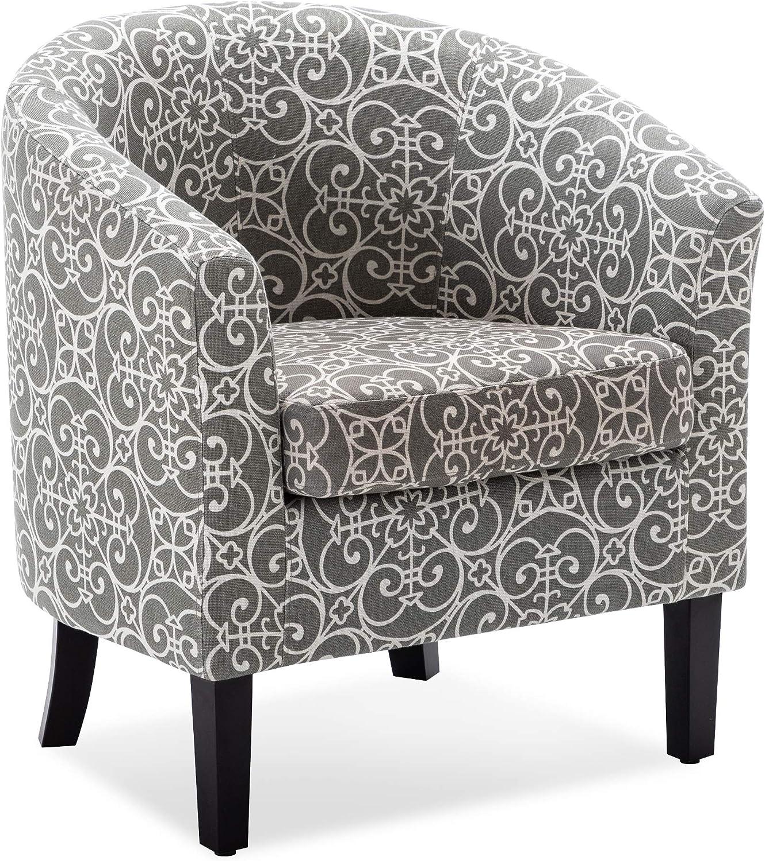 Belleze Modern Club Chair Tub Barrel Fabric Seat Armchair Accent Living Room, Grey