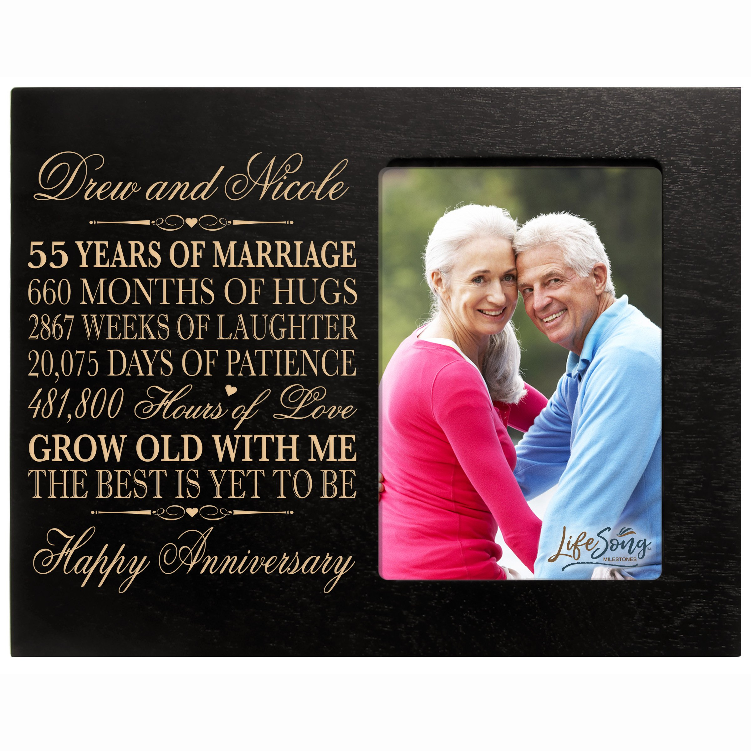 Personalized 55th Year Wedding for Couple Custom Engraved 55th Wedding Frame Holds 1 4x6 Photo 8'' H X 10'' W (Black)