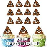 vorgeschnittenen Emoji-Poop/Poo–Essbare Cupcake Topper/Kuchen Dekorationen (12Stück)