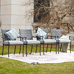 LOKATSE HOME Outdoor Wrought Iron Dining Chairs Set of 4, Cast Aluminum Lattice Weave Design with Arms and Seat Cushions, Grey