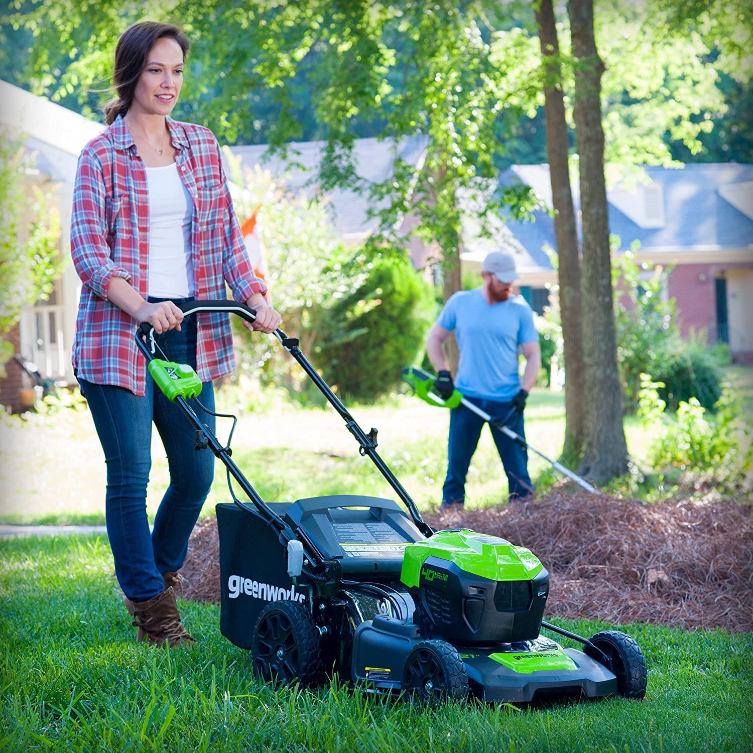 Greenworks Self-Propelled Cordless Lawn Mower MO40L02 greenworks mower