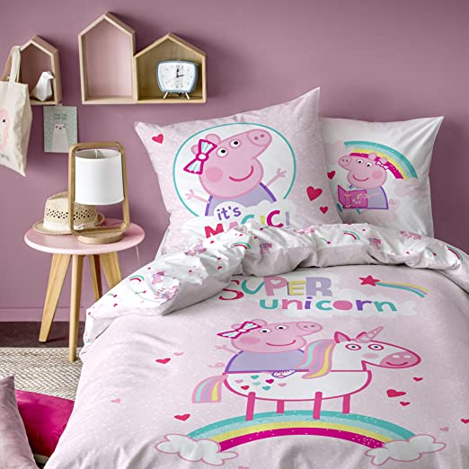 Peppa Pig – Juego, 100% algodón, Rosa Polvo, 140 x 200/63 x 63 cm ...