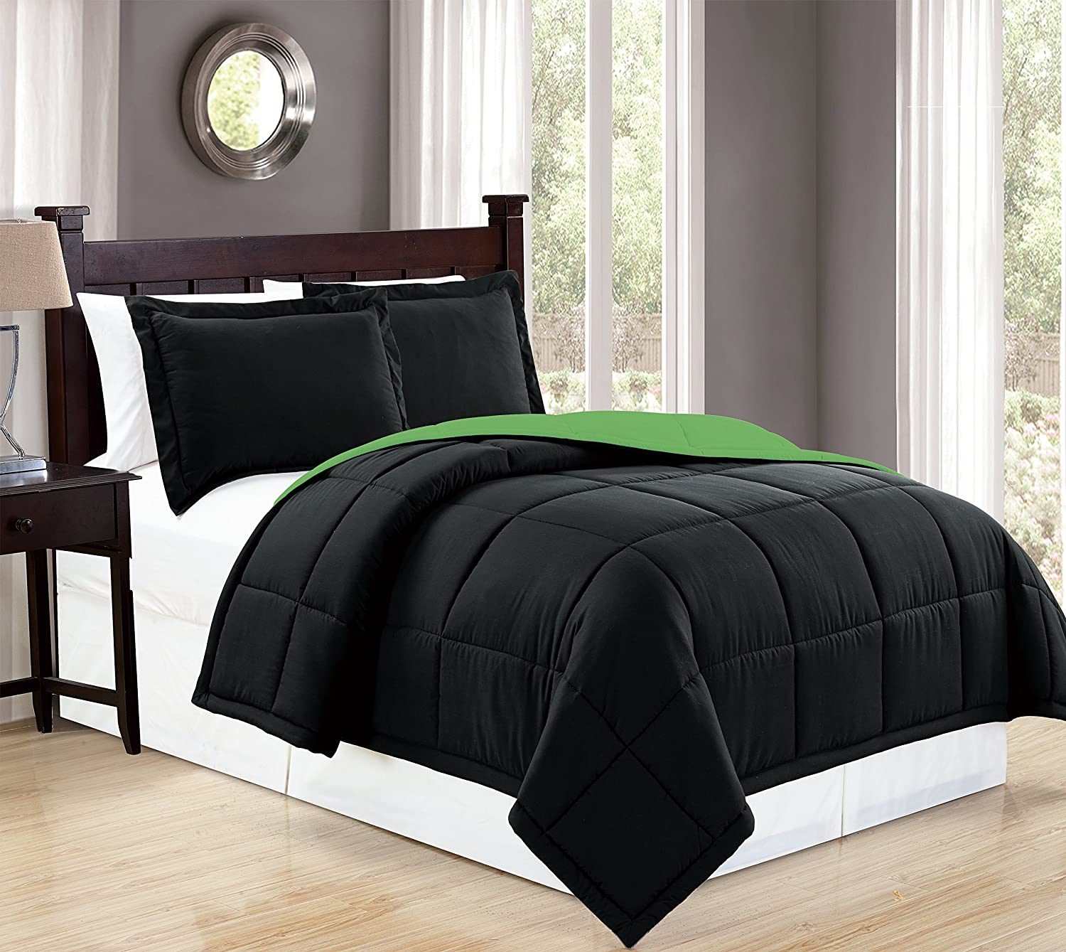 Mk Collection Down Alternative Comforter Set 3pc king, Black/Lime Green