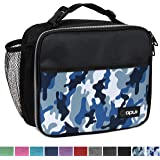 OPUX Premium Insulated Lunch Bag for Adults Men Women | Soft Leakproof Lunch Box for Kids, Boys, Girls| Reusable Durable Thermal Lunch Pail for School Work Office | Fit 6 Cans (Camo Blue)