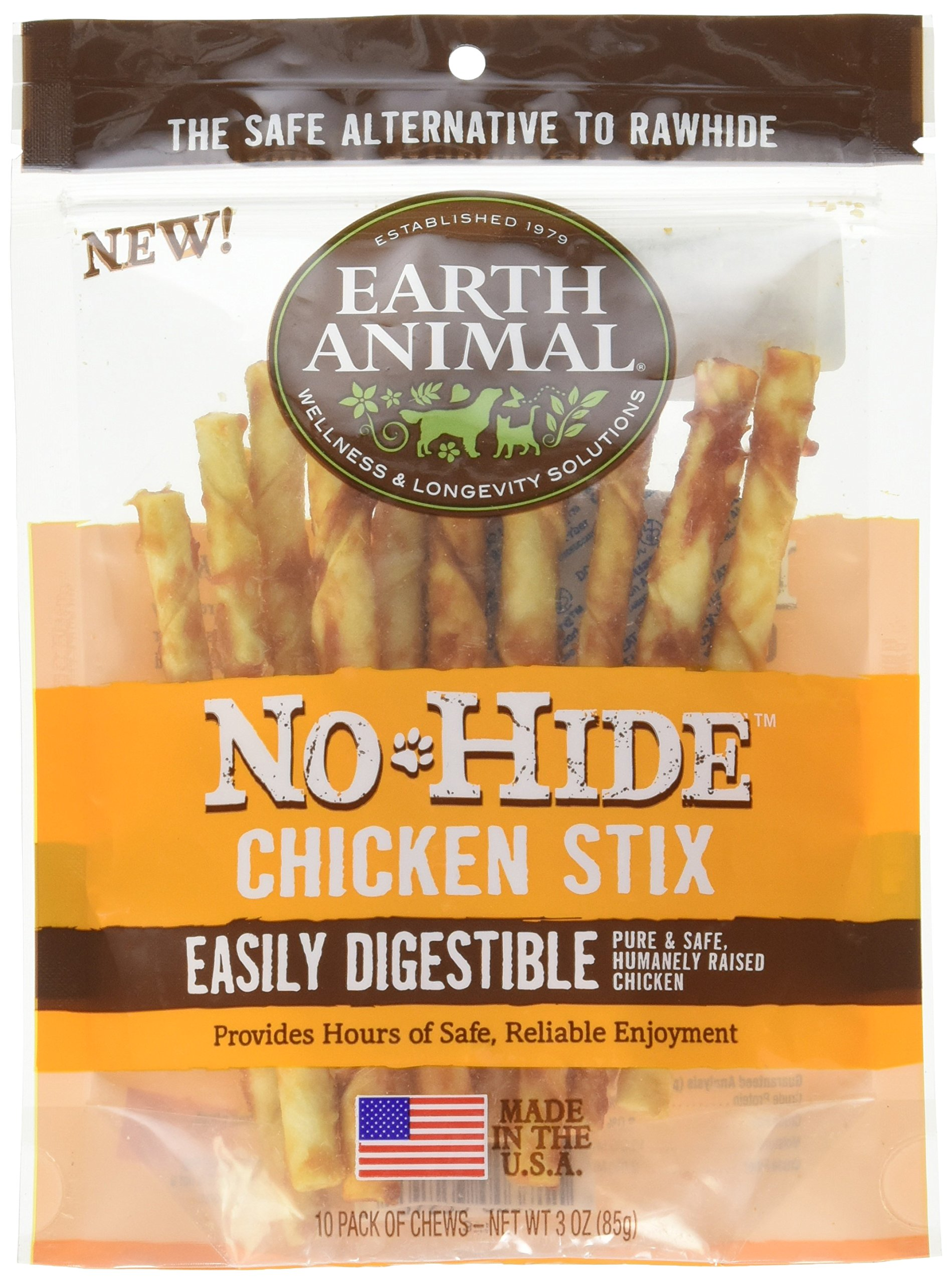 Earth Animal No-hide Chicken Stix 10 Count/3 oz