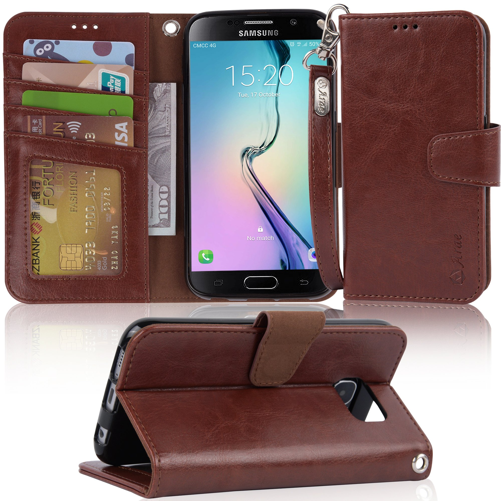 Galaxy S6 Case, Arae Samsung Galaxy S6 wallet case,[Wrist Strap] Flip Folio [Kickstand Feature] PU leather wallet case with ID&Credit Card Pockets For Samsung Galaxy S6 (Brown)