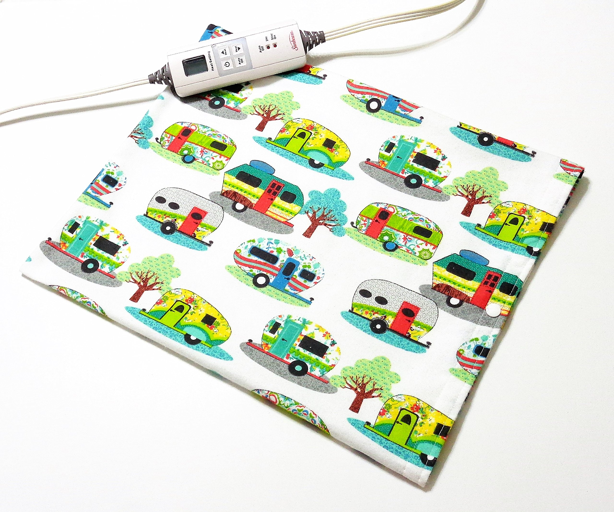 """Replacement Cover for 12"""" x 15"""" Heating Pad ~ Heating Pad Cover ~ Cover Only ~ Glamping Fun Print"""