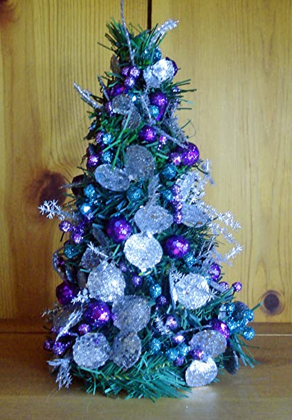 christmas decorations miniature decorated christmas tree teal purple silver