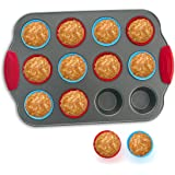 Boxiki Kitchen 12-Cup Mini Muffin Pan with Silicone Muffin Cups (Set of 12) Professional Nonstick Bakeware | Heavy Grade Stee