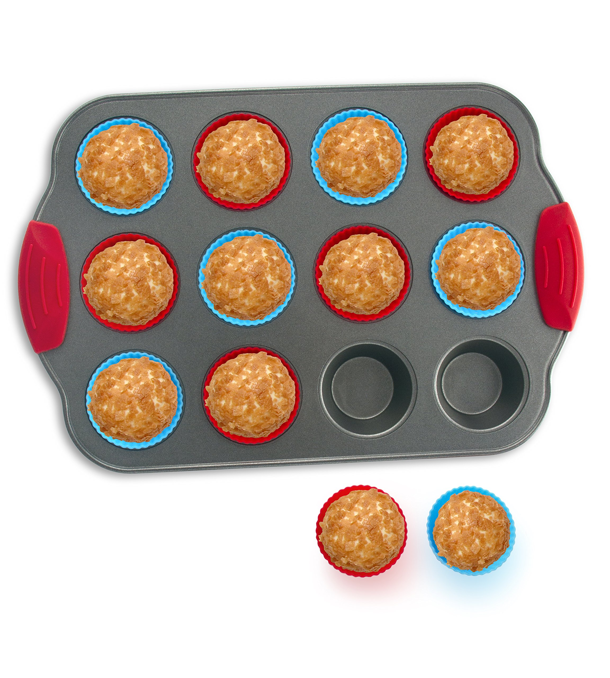 Boxiki Kitchen 12-Cup Mini Muffin Pan with Silicone Muffin Cups (Set of 12) Professional Nonstick Bakeware | Heavy Grade Steel and Silicone Muffin Tins by Boxiki Kitchen
