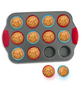 Boxiki Kitchen 12-Cup Mini Muffin Pan with Silicone Muffin Cups (Set of 12) Professional Nonstick Bakeware | Heavy Grade Steel and Silicone Muffin Tins