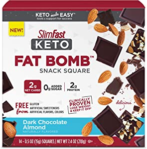SlimFast Keto Fat Bomb Snacks - Dark Chocolate Almond Squares - 14 Count Box - Pantry Friendly