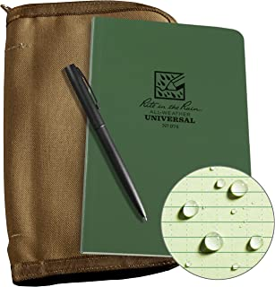 """product image for Rite In The Rain Weatherproof Bound Book Kit: Tan CORDURA Fabric, 4 5/8"""" x 7 1/4"""" Green Notebook, and Weatherproof Pen (No. 974-KIT)"""