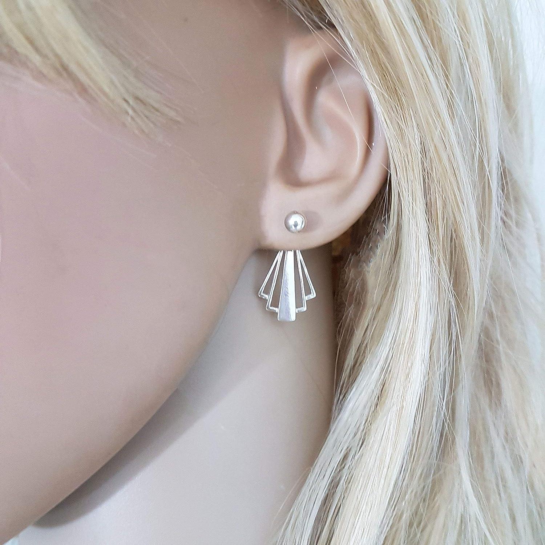 Sterling Silver Geometric Fan Ear Jacket Earrings for Women, Art Deco Style