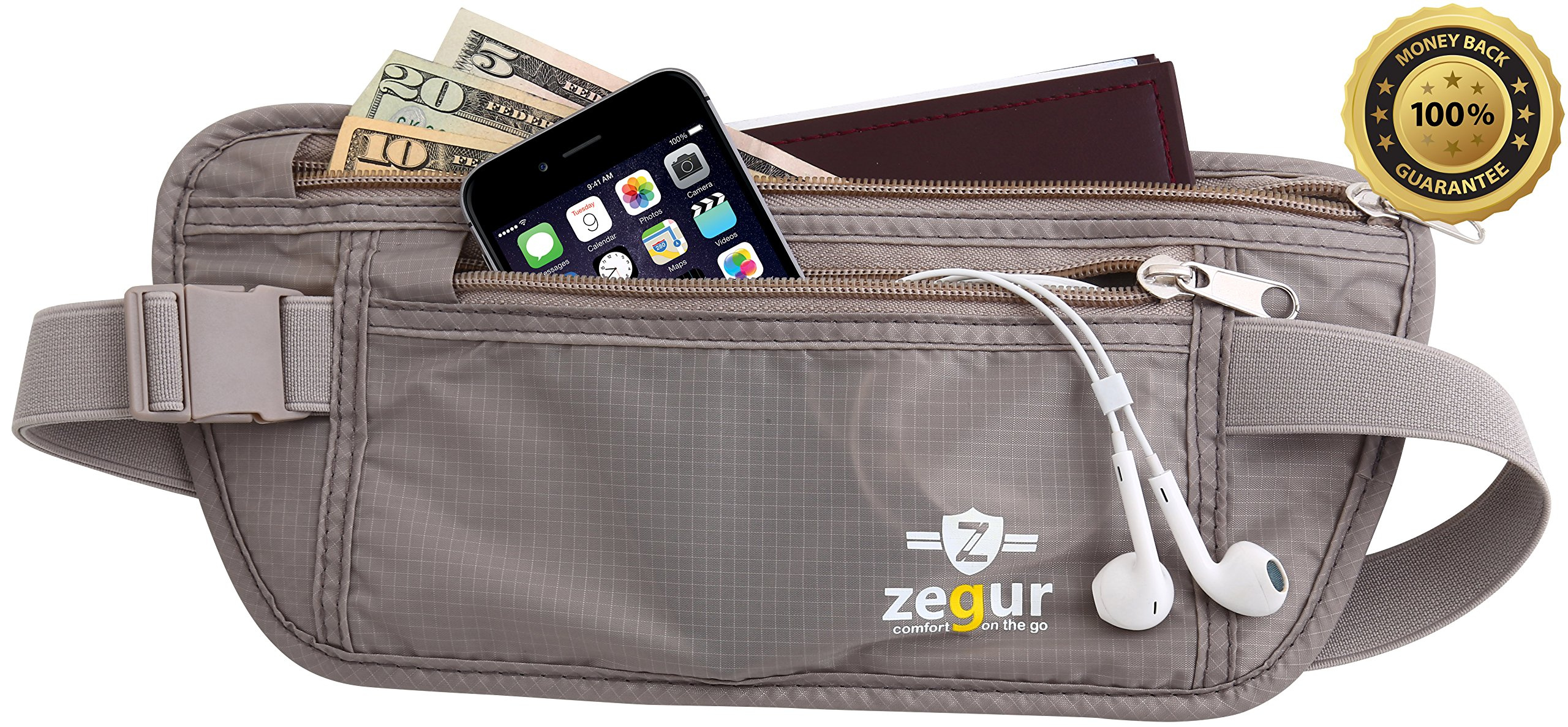 SUPER SPECIAL Zegur Tm HIGH QUALITY MONEY BELT Lightweight Undercover Waist Pouch - Best to Protect Yourself From Travel Theft - Wallet Stash Made with Special Mesh Backing for BREATHABLE & MOISTURE-WICKING for MAXIMUM COMFORT - Elastic Belt with ADJUSTAB