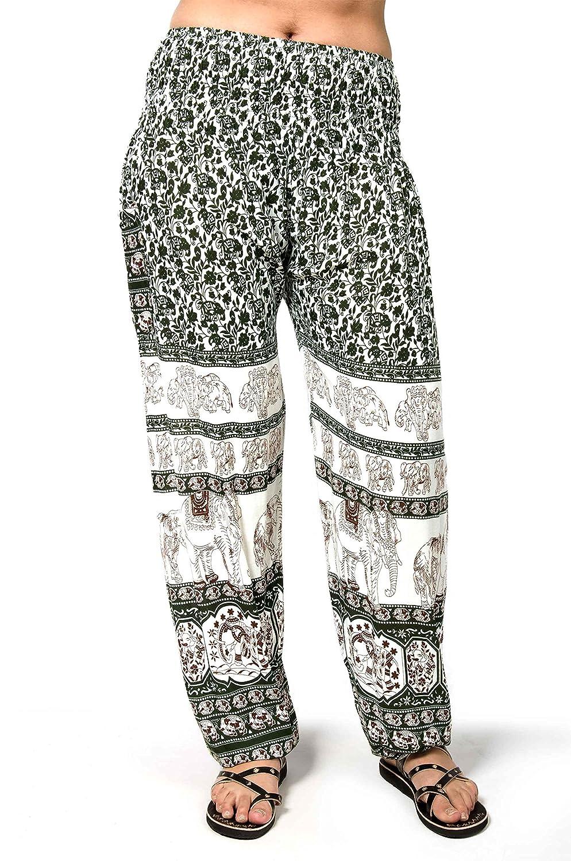 TCG Women's Elephant Print Smocked Waist Pants - Olive