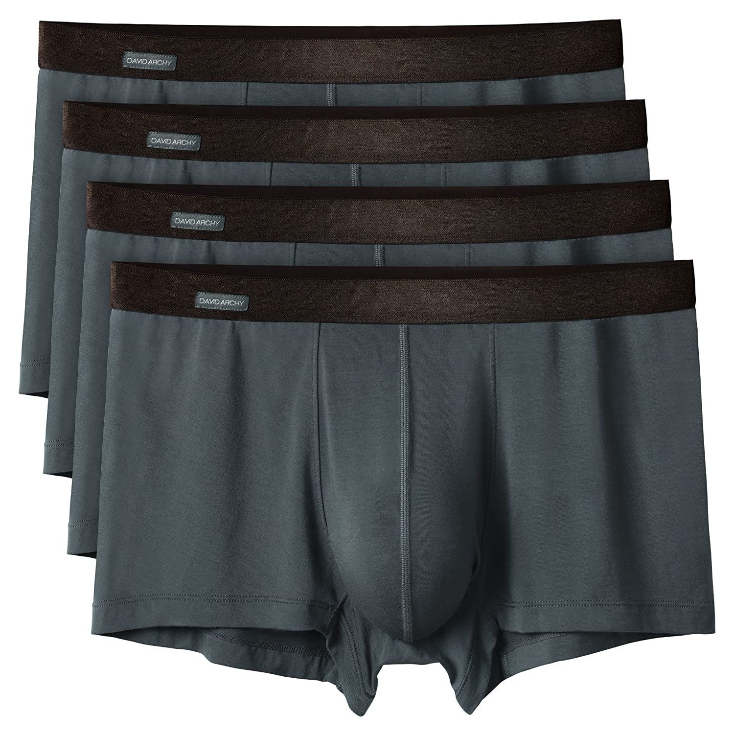 David Archy Men's 4 Pack Basic Solid Ultra Soft Underwear Bamboo Rayon Trunks