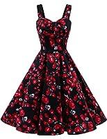 Dresstells® Shoulder Straps 1950s Retro Audrey Swing Pinup Rockabilly Dress Pleated Skirt