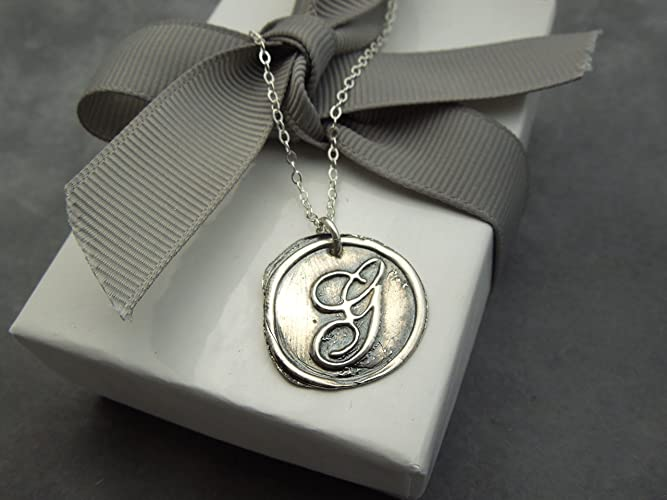 Amazon Com Personalized Wax Seal Necklace Monogram Letter