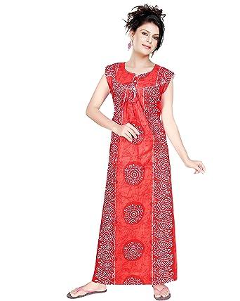 Satyam Women Sleeveless Batik Large Size 100% Soft Cotton Nighty (Red) b3261f618