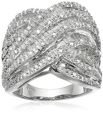 439282c599002 Amazon.com  Sterling Silver Diamond Ring (1 cttw