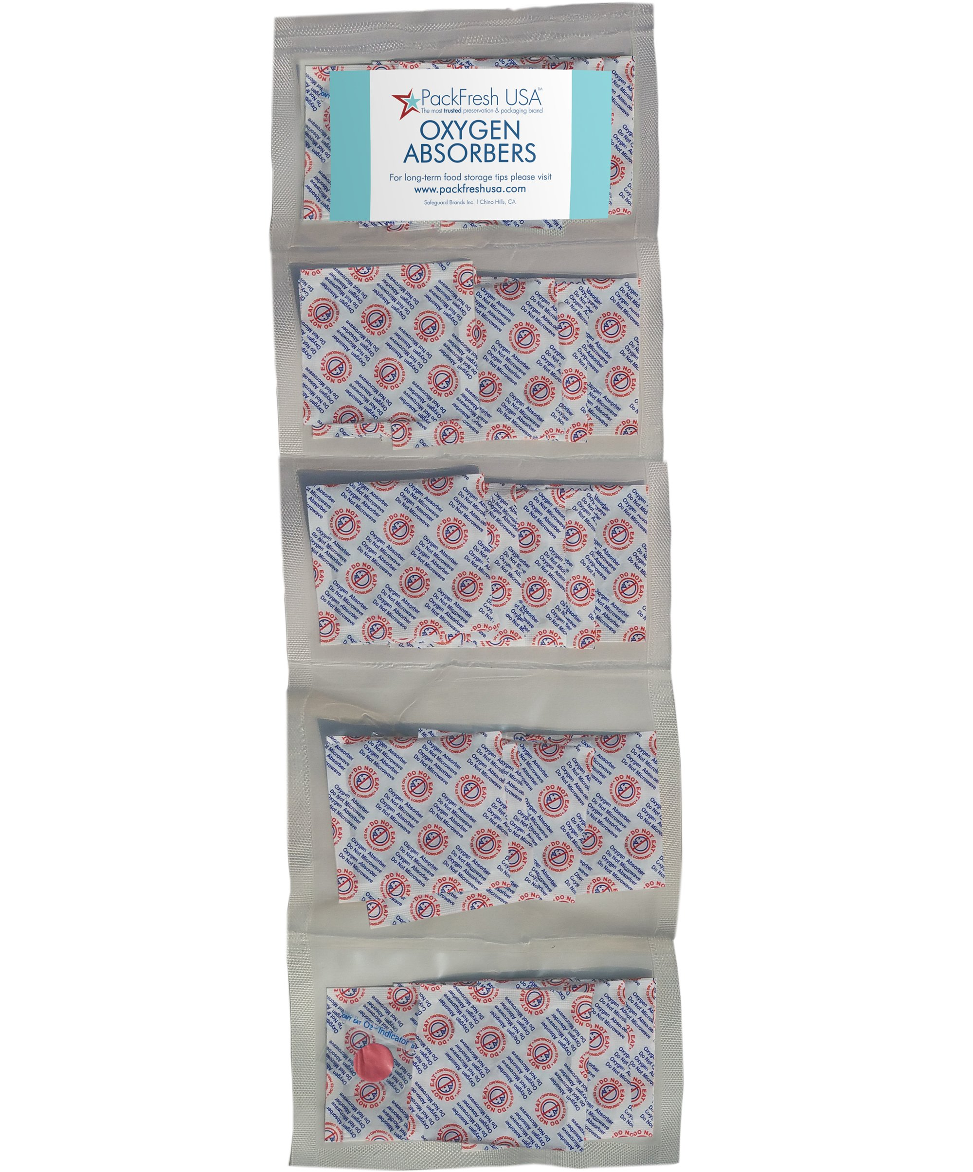 300cc Oxygen Absorber Compartment Packs (25, in 5 Compartments) with PackFreshUSA LTFS Guide