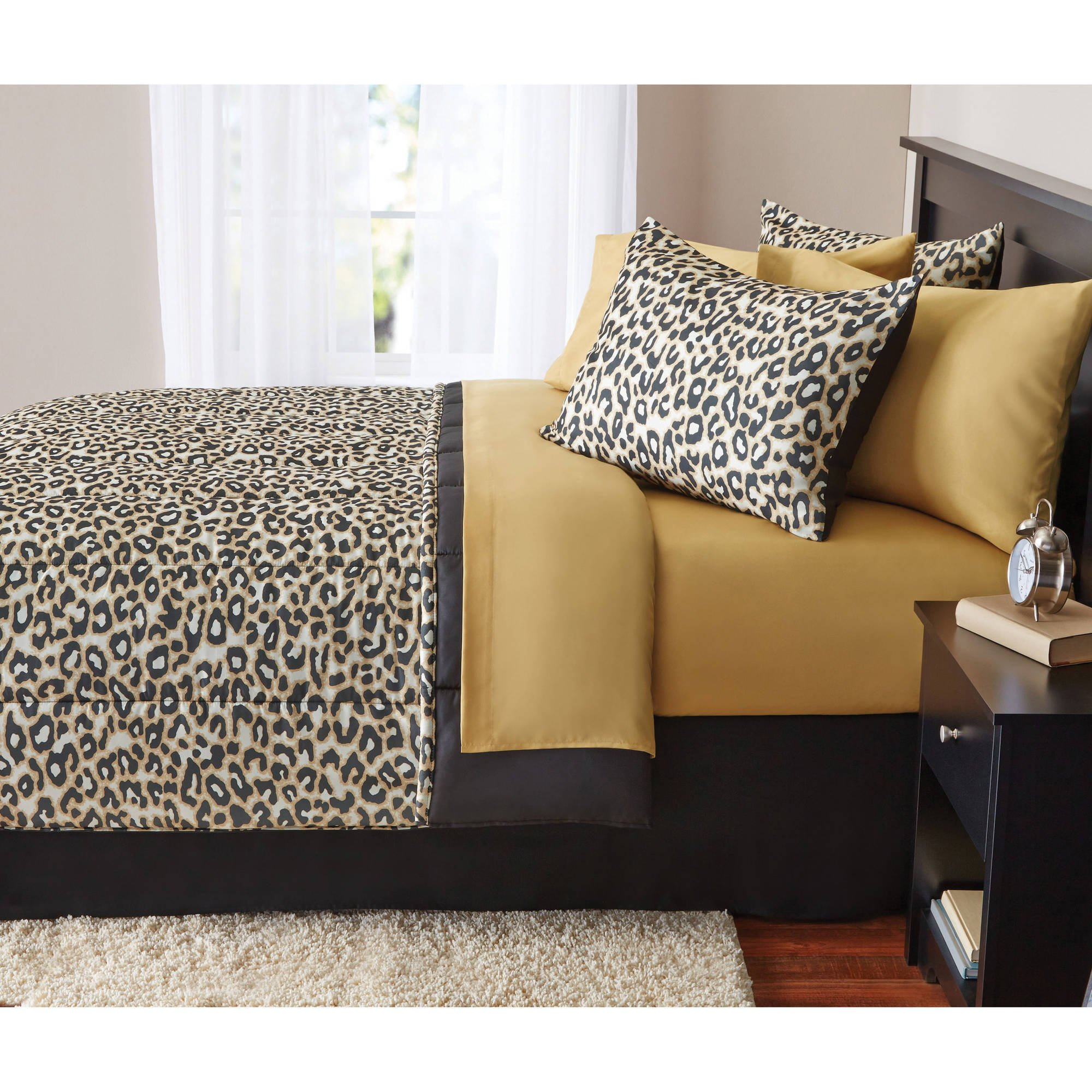 8 Piece Boys Tan Brown Cheetah Print comforters Queen Set With Sheets, Black Leopard Printed Pattern, Wild Animal Zoo Jungle Safari Themed Reversible Solid Color Kids Bedding Teen Bedroom, Polyester