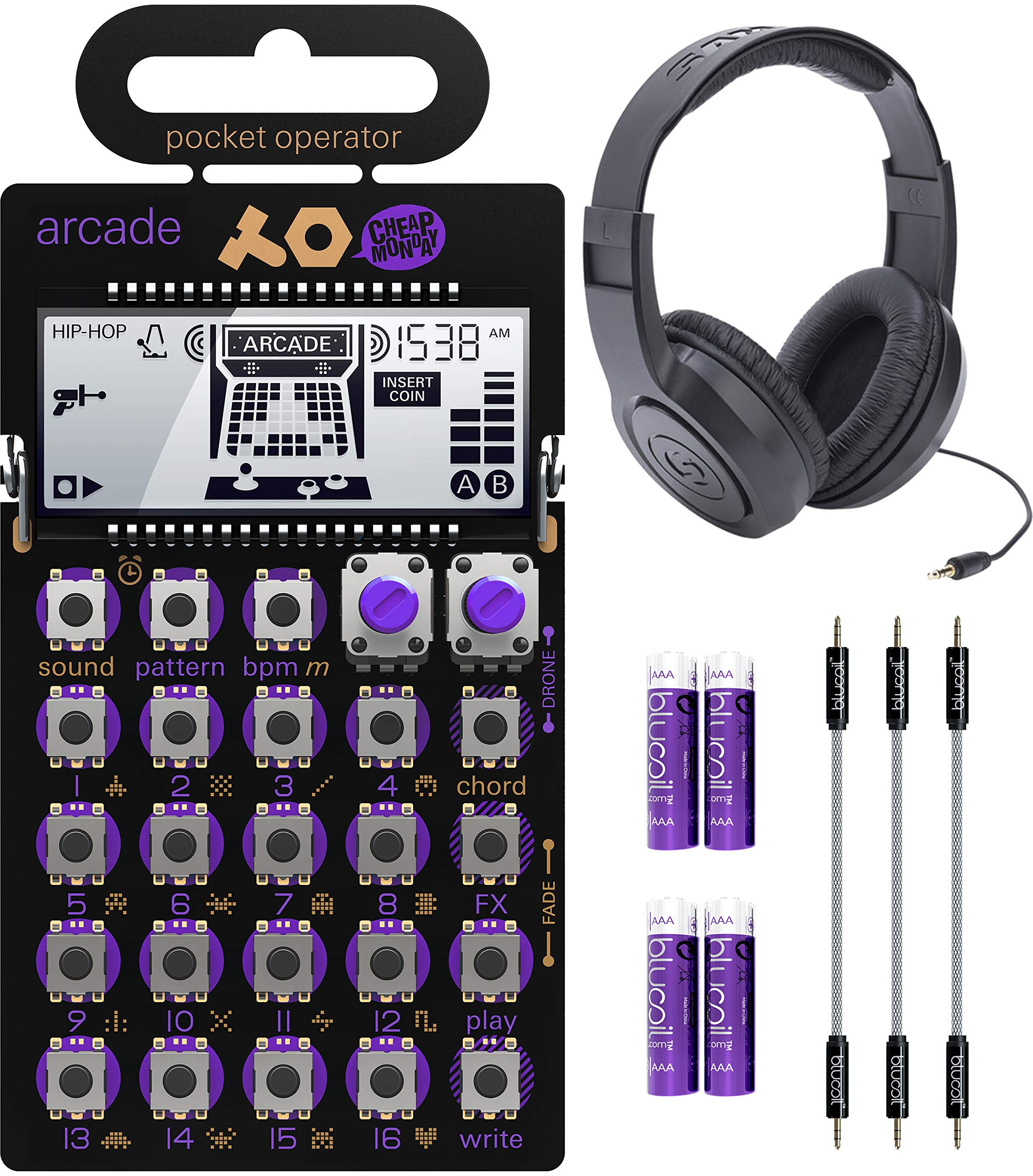 Teenage Engineering PO-20 Pocket Operator Arcade Synthesizer Bundle with Samson SR350 Over-Ear Closed-Back Headphones, Blucoil 3-Pack of 7'' Audio Aux Cables, and 4 AAA Batteries by blucoil