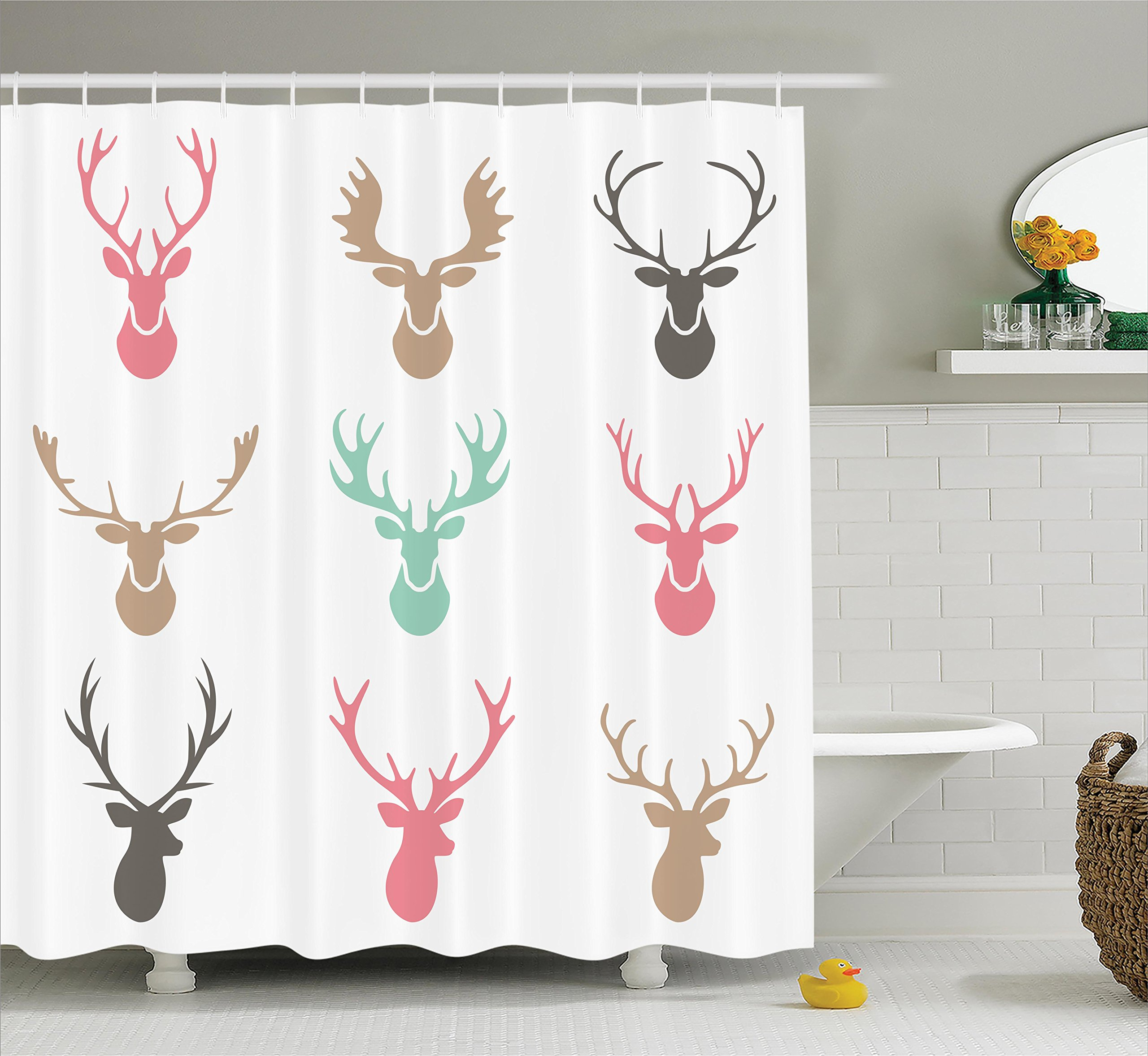 Ambesonne Antlers Decor Collection, Reindeer Antlers Illustration Hunt Countryside Jungle Nature Silhouette Art Pattern, Polyester Fabric Bathroom Shower Curtain Set with Hooks, Pink Blue Ivory