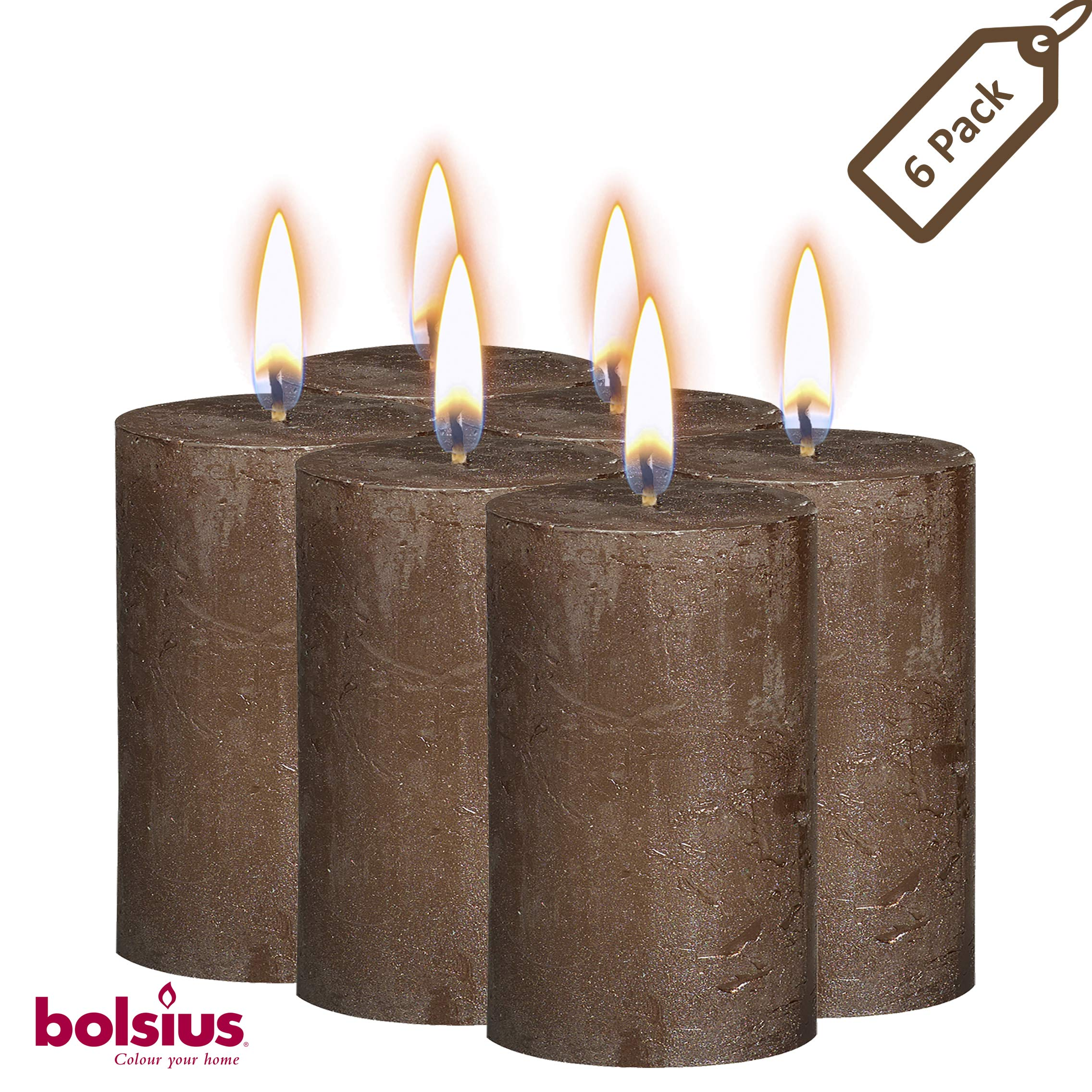 BOLSIUS Rustic Full Metallic Brown Candles - Set of 6 Unscented Pillar Candles - Brown Candles with a Full Metallic Coat - Slow Burning - Perfect Décor Candle - 130/68m 5 X 2.75 Inches